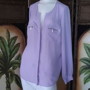 INC Lavender chiffon Zipper detail top